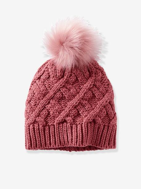 Cable-Knit Beanie for Girls GREY MEDIUM SOLID+PINK MEDIUM SOLID