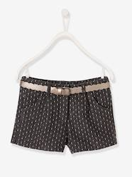 Girls-Shorts in Woollen Fabric & Iridescent Waistband for Girls