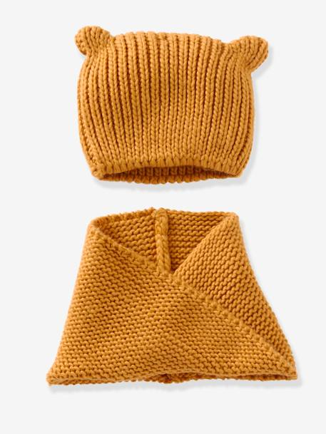 Girls' Stylish Beanie & Snood BLUE MEDIUM SOLID+ORANGE MEDIUM SOLID+RED DARK SOLID