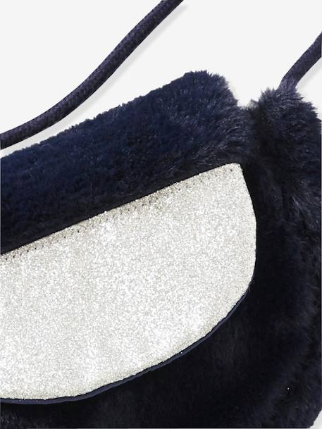 Small Faux Fur Handbag for Girls BLUE DARK TWO COLOR/MULTICOL