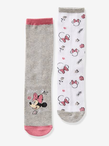 Pack of 2 Pairs of Minnie® Socks GREY MEDIUM SOLID WITH DESIGN