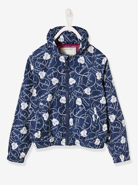 Jacket with Concealed Hood for Girls BLUE DARK SOLID