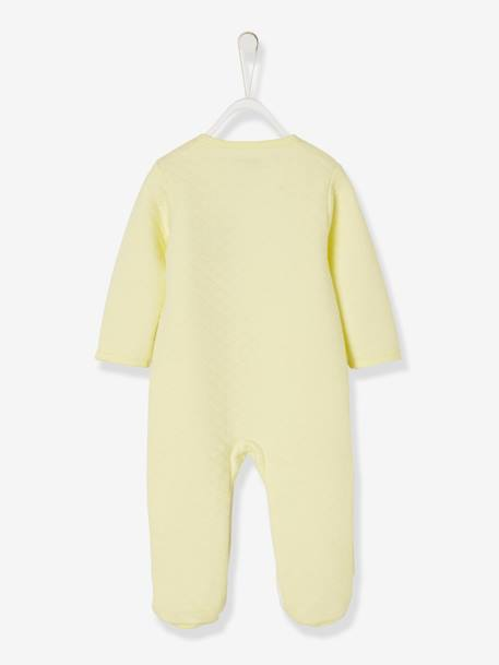 Pyjamas in Organic Fleece, Press-Studs on the Front, For Babies YELLOW LIGHT SOLID WITH DESIGN