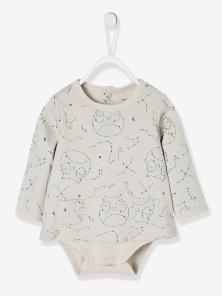 Bodysuit-Top with Pockets & Owl Print, for Newborn Babies GREY LIGHT ALL OVER PRINTED
