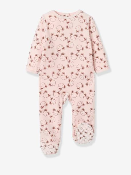 Pack of 2 Velour Pyjamas, Press Studs on the Back PINK LIGHT 2 COLOR/MULTICOL R