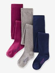 Girls-Girl's Pack of 3 Pairs of Jersey Knit Fabric Tights