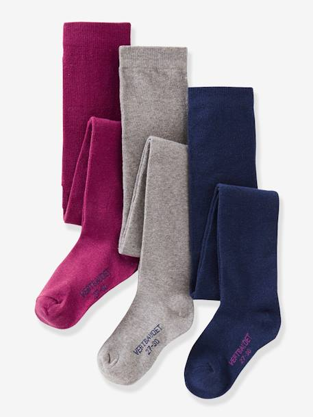 Girl's Pack of 3 Pairs of Jersey Knit Fabric Tights BLUE LIGHT TWO COLOR/MULTICOL+BROWN DARK 2 COLOR/MULTICOL+GREY MEDIUM MIXED COLOR+PINK DARK 2 COLOR/MULTICOL OR+PINK LIGHT 2 COLOR/MULTICOL R+YELLOW DARK 2 COLOR/MULTICOL