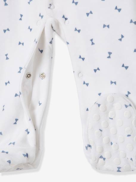 Organic Velour Pyjamas for Babies, Press-Studs on the Front WHITE LIGHT ALL OVER PRINTED