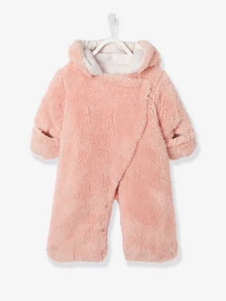 Newborn Faux Fur Convertible Snowsuit Chocolate+Cream+PINK LIGHT SOLID