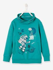 Boys-Cardigans, Jumpers & Sweatshirts-Sweatshirts & Hoodies-Sweatshirt for Boys, with Astronaut and Glow-in-the-Dark Motif