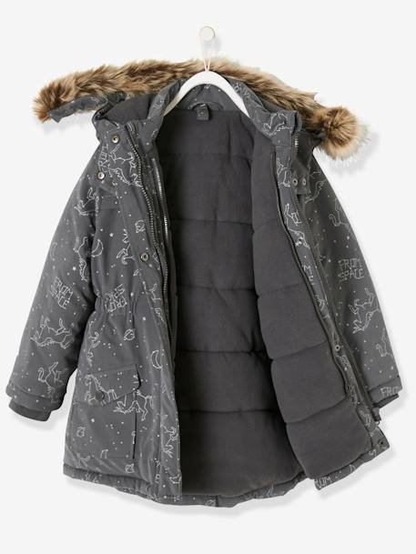 4-in-1 Parka with Fleece Lining for Girls BLUE DARK ALL OVER PRINTED+BROWN DARK SOLID+GREY DARK ALL OVER PRINTED+GREY MEDIUM  ALL OVER PRINTED+PINK LIGHT SOLID
