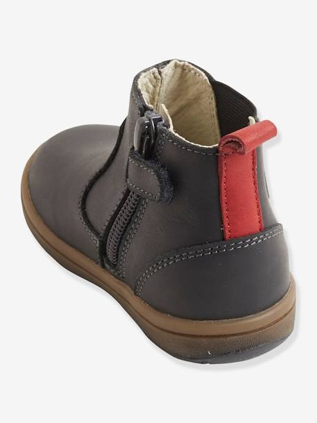 Elastic Leather Boots for Boys GREY DARK SOLID