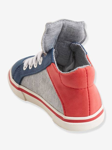 High Top Trainers with Laces for Boys GREY LIGHT SOLID WITH DESIGN