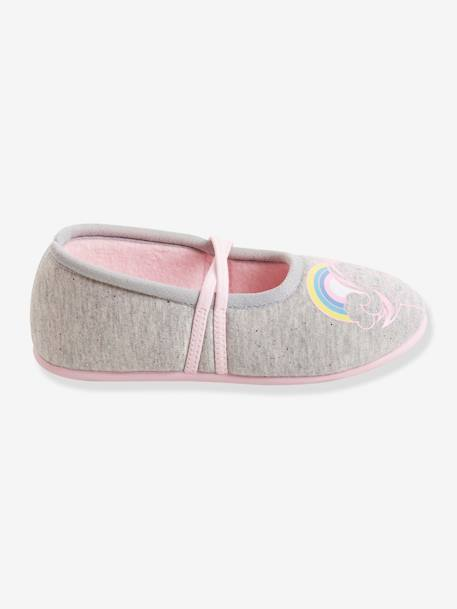 Fabric Ballerina Shoes for Girls GREY LIGHT SOLID WITH DESIGN