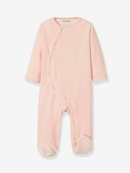 Pack of 2 Organic Velour Pyjamas for Babies, Press Studs on the Front PINK LIGHT 2 COLOR/MULTICOL R