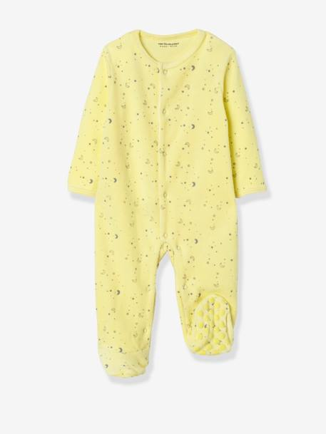Pack of 2 Organic Velour Pyjamas for Babies, Press Studs on the Front YELLOW LIGHT 2 COLOR/MULTICOL