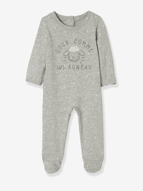 Pack of 2 Velour Pyjamas for Babies, Press Studs on the Back GREY LIGHT TWO COLOR/MULTICOL