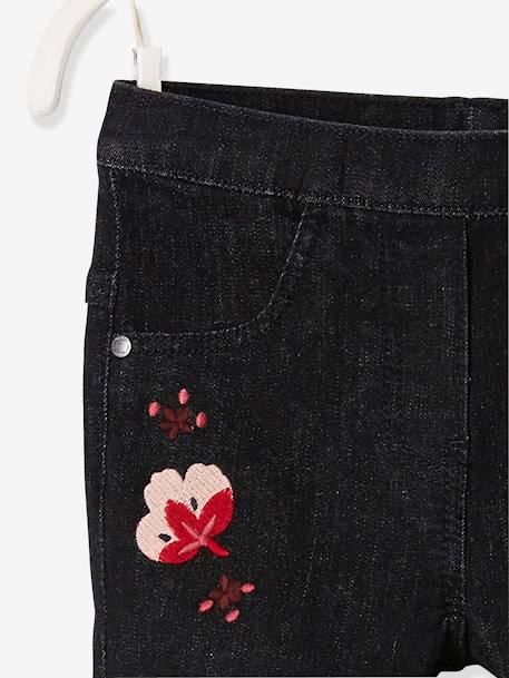 Embroidered Tregging-Style Jeans for Girls BLACK DARK SOLID WITH DESIGN+BLUE DARK SOLID