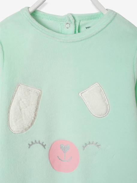 Velour Pyjamas for Babies, with Press-Studs on the Back GREEN LIGHT SOLID WITH DESIGN