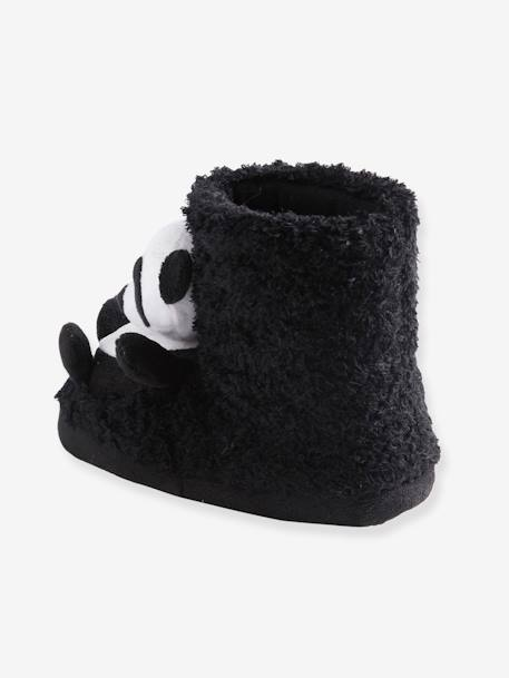 High Top Shoes with Plush Pandas for Girls BLACK DARK SOLID