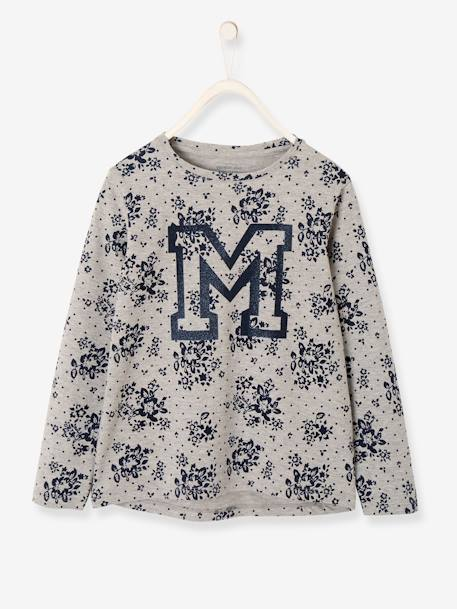 Flowery Long-Sleeved Top for Girls GREY LIGHT ALL OVER PRINTED