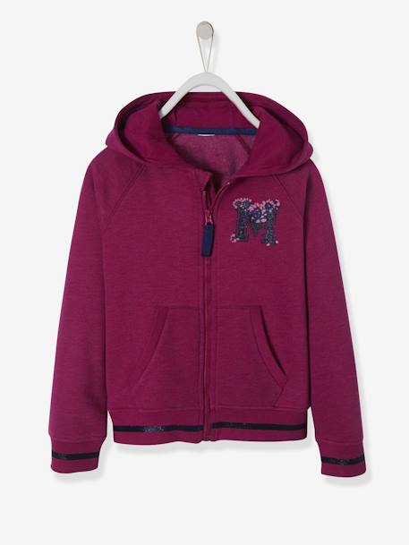 Hooded Jacket with Zip for Girls GREY LIGHT SOLID WITH DESIGN+PINK DARK SOLID WITH DESIGN