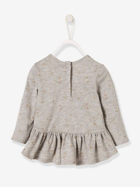 Printed Top with Frilled Hem for Baby Girls GREY LIGHT MIXED COLOR+PINK DARK ALL OVER PRINTED