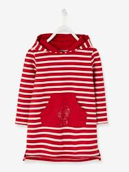 Girls-Dresses-Striped Fleece Dress with Hood for Girls
