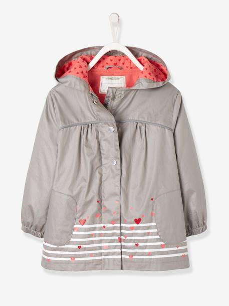 Girls' Parka with Polar Fleece Lining GREY MEDIUM SOLID WITH DESIGN