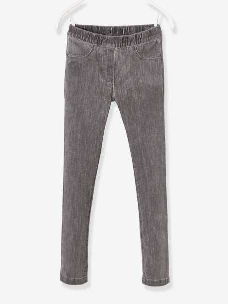 Girls' Denim Treggings BLUE DARK WASCHED+GREY MEDIUM WASCHED+Untreated
