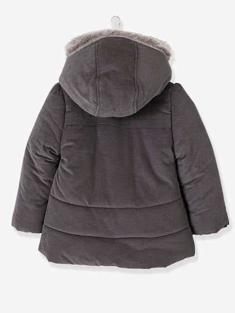 Fleece-Lined Velour Coat for Girls GREY DARK SOLID WITH DESIGN+PINK LIGHT SOLID WITH DESIGN