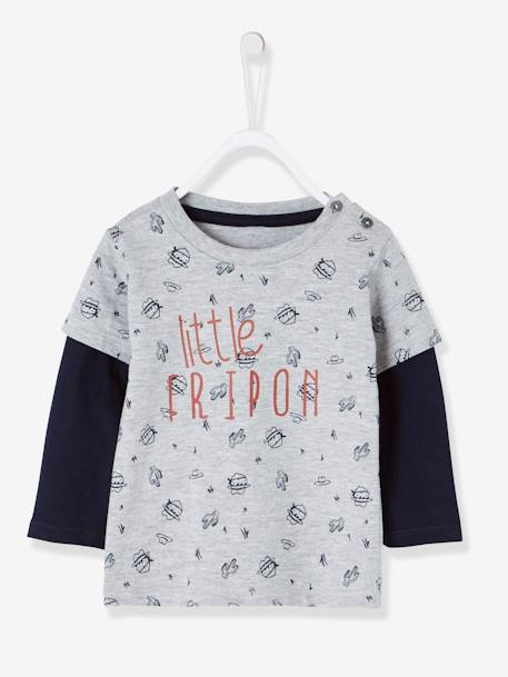 Layered-Look T-Shirt for Baby Boys GREY MEDIUM MIXED COLOR