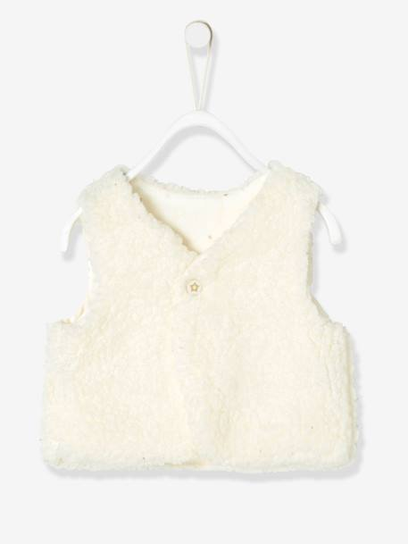 Baby Girls Faux Fur Gilet Off-white