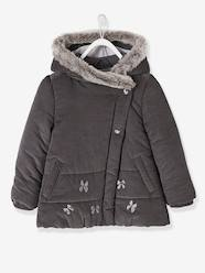 Girls-Fleece-Lined Velour Coat for Girls