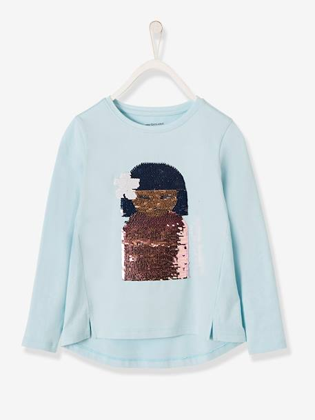 Long-Sleeved T-Shirt with Reversible Sequins for Girls BLUE LIGHT SOLID WITH DESIGN