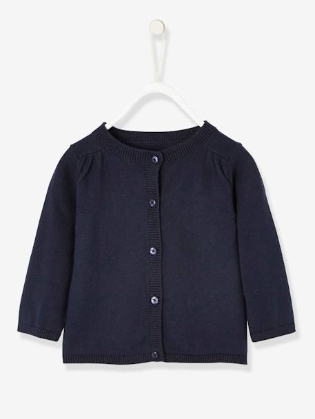 Baby Girls' Knit Cardigan BLUE DARK SOLID+GREY DARK ALL OVER PRINTED+PINK LIGHT ALL OVER PRINTED+RED LIGHT SOLID