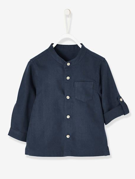 Mandarin Collar Shirt for Baby Boys BLUE DARK SOLID+WHITE LIGHT SOLID