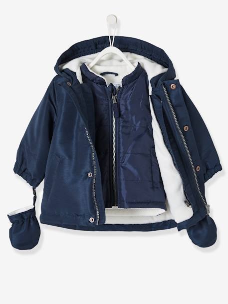 Baby Boys' 3-in-1 Adaptable Parka BLUE DARK SOLID+YELLOW DARK SOLID