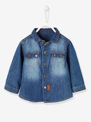 Baby-Blouses & Shirts-Faded Denim Shirt for Baby Boys