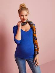 Maternity-T-shirts & Tops-Maternity Top with Embroidered Shoulders