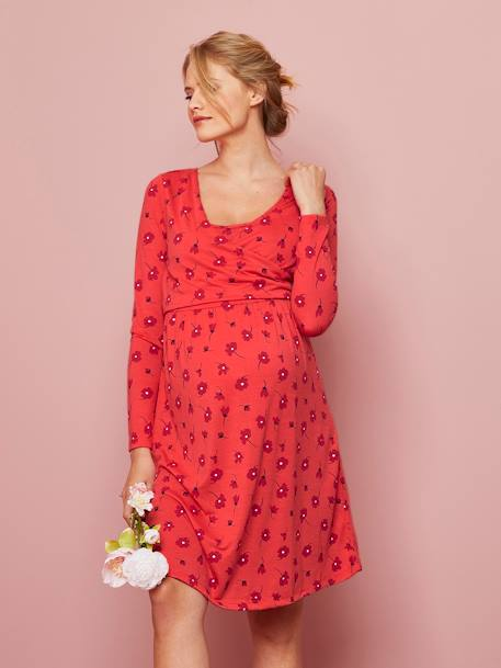 Adaptable Maternity & Nursing Wrapover Dress BLUE MEDIUM ALL OVER PRINTED+RED LIGHT ALL OVER PRINTED