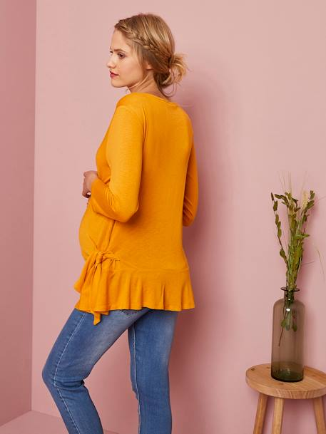 Maternity Top with Applied Trims ORANGE MEDIUM SOLID WITH DESIG