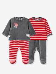 Baby-Pack of 2 Baby Two-Piece Pyjamas in Velour Fabric