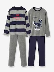 Boys-Nightwear-Pack of 2 Pairs of Matching Dual Fabric Pyjamas for Boys
