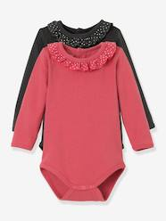 Baby-T-shirts & Roll Neck T-Shirts-T-Shirts-Pack of 2 Girls' Bodysuits, Collar with Frill