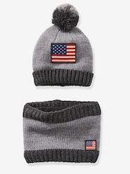 Boys-Accessories-Winter Hats, Scarves & Gloves-Boys' Beanie + Snood Set with Flag
