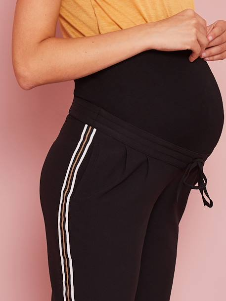 Maternity Trousers with Stripes Up the Sides BLACK DARK SOLID