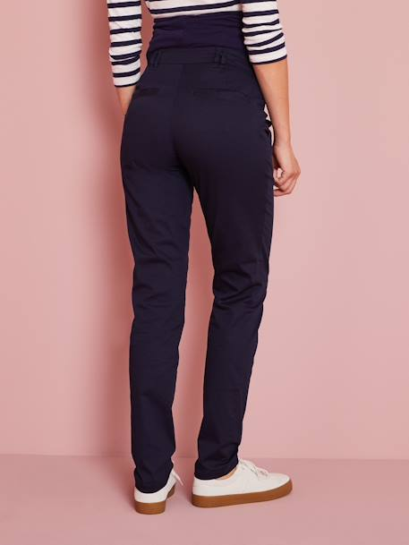 Maternity Chino Trousers, Inside Leg 31'' BLUE DARK SOLID