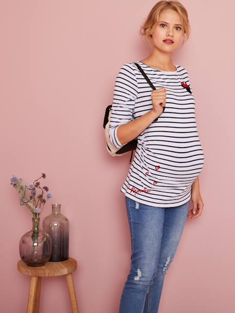 Maternity Sailor-Look Minnie® Top WHITE LIGHT STRIPED