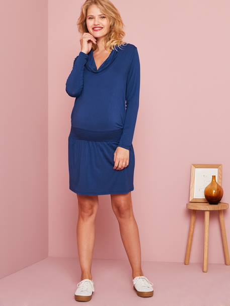 Maternity & Nursing Cowl Neck Dress BLUE BRIGHT SOLID+RED DARK SOLID